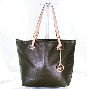 Michael Kors Dark Green Shoulder Tote Bag